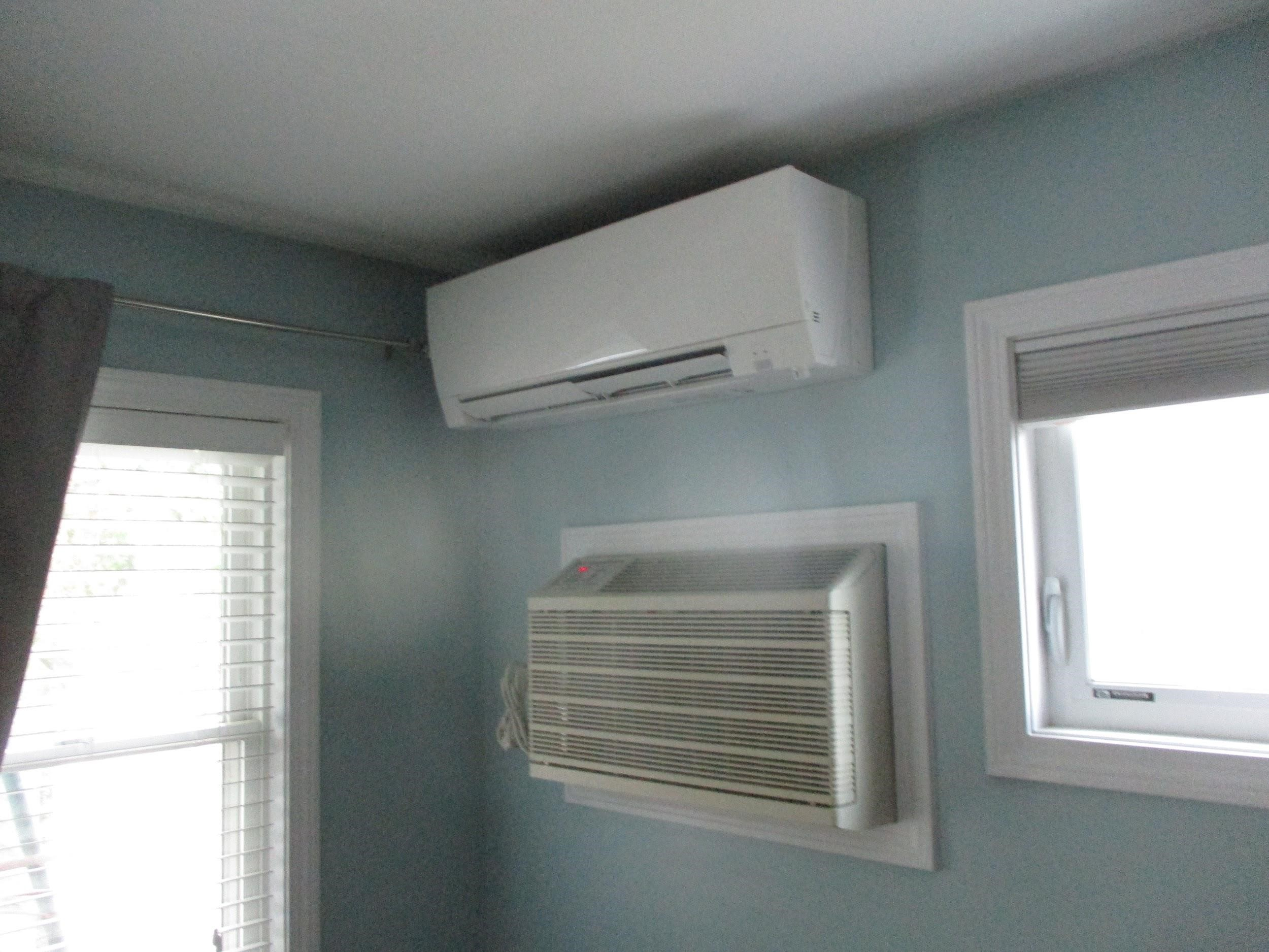 A second Mitsubishi ductless AC unit installed in cape-style home in Framington, MA.