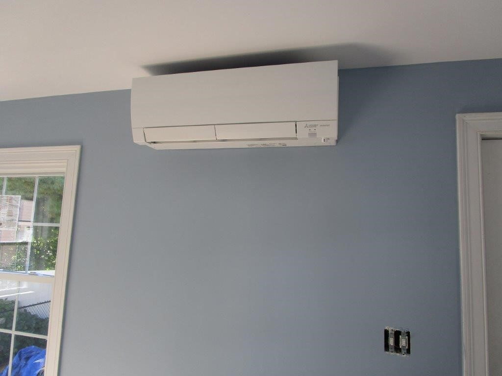 Ductless AC in a cape-style home in Brighton, MA.