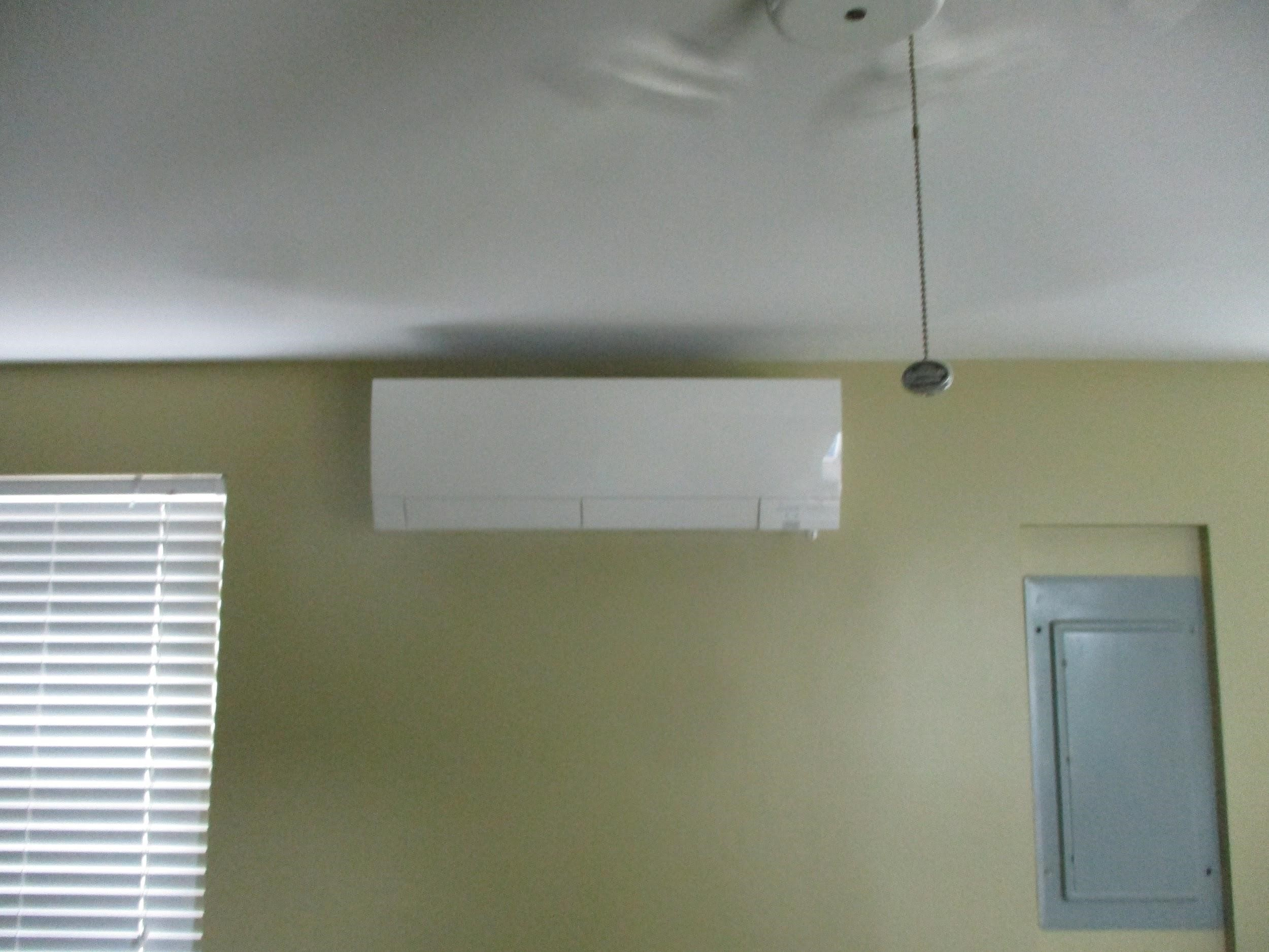Example of an indoor Mitsubishi ductless AC unit installed in Framingham, MA.