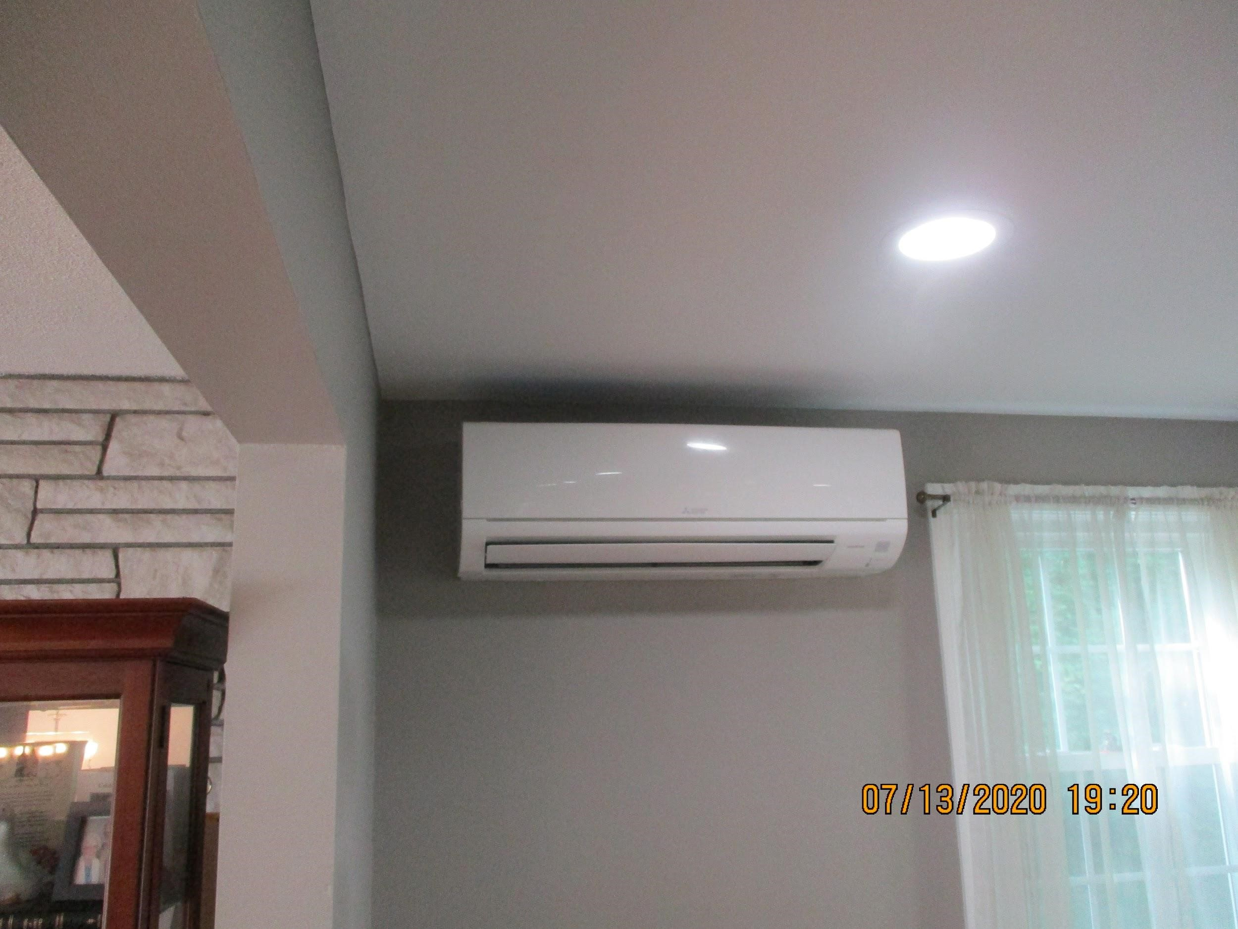 Example of an indoor Mitsubishi ductless AC installed in Framingham home.