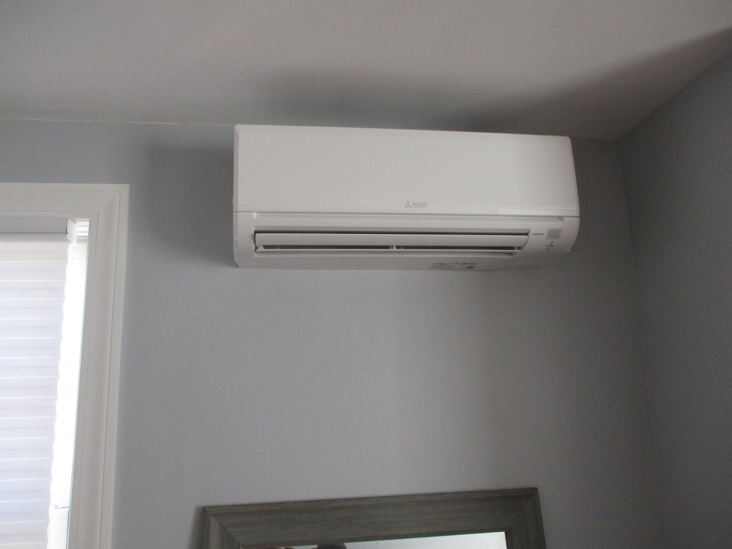 Example of an indoor ductless AC unit installed in a Hamilton, MA, home.