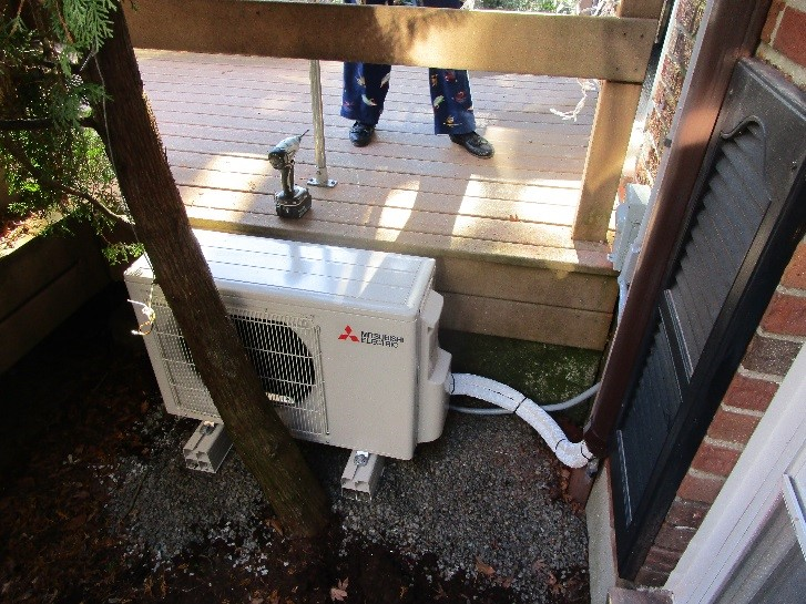 Example of outdoor Mitsubishi ductless air conditioner with heat pump.