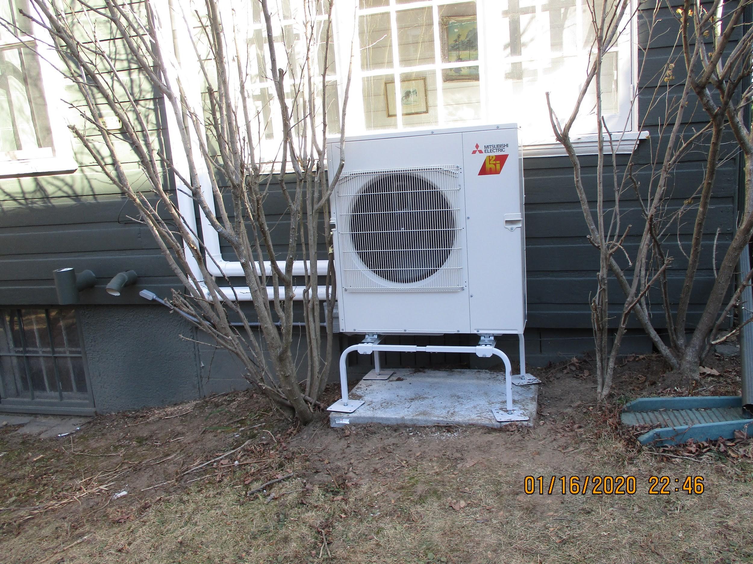 Example of a Mitsubishi outdoor heat pump.