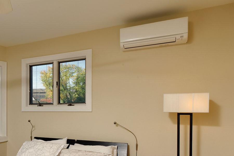 Salem, MA, single family home gets a ductless HVAC system installed.