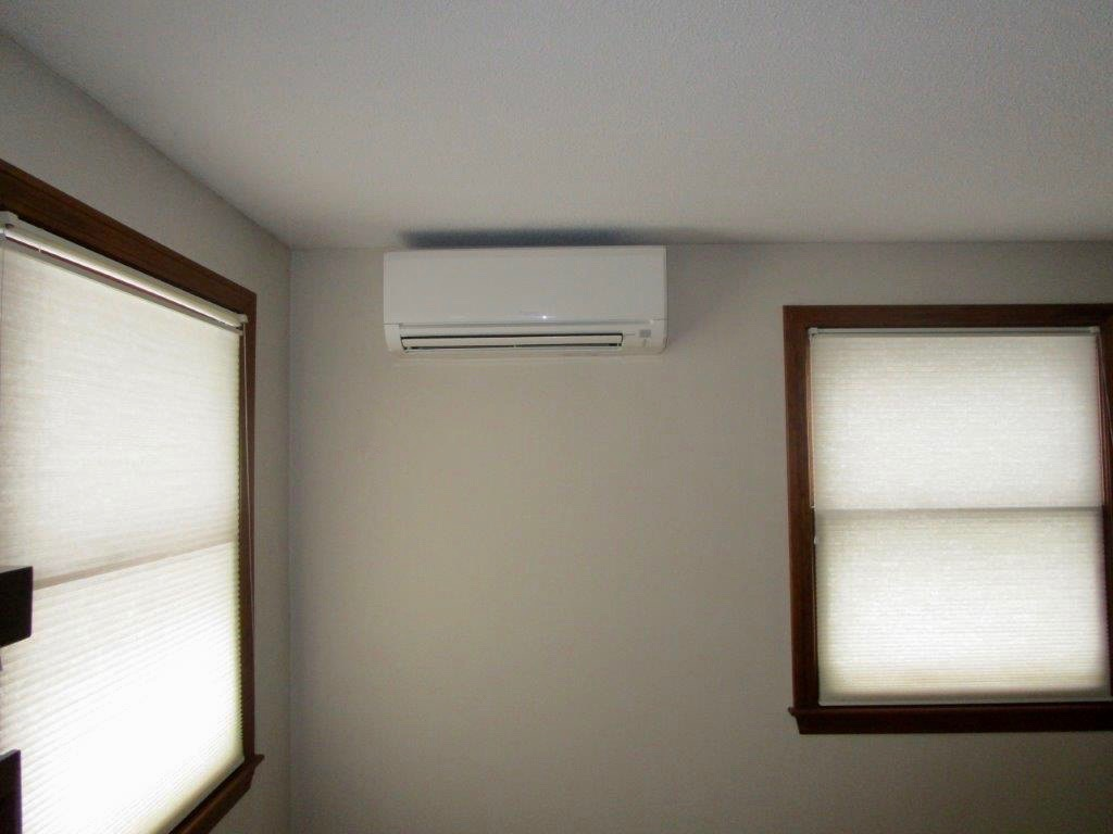 Indoor wall unit installation for ductless unit.
