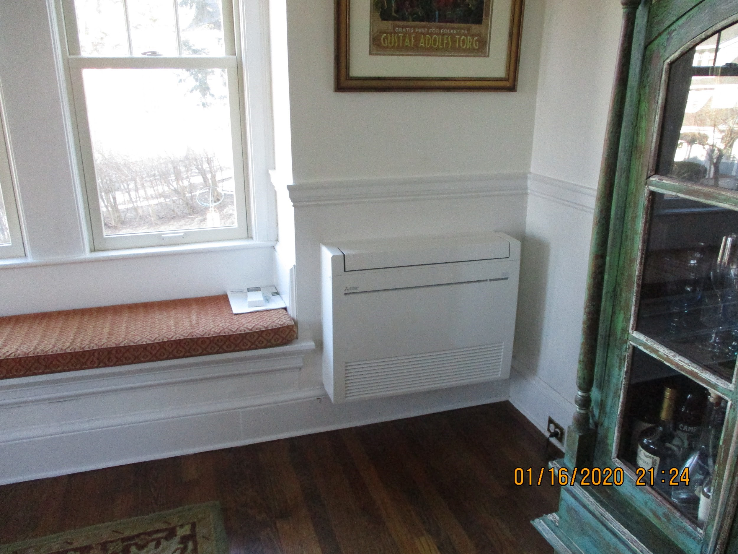 Example of a floor-mounted ductless AC unit in MA home.