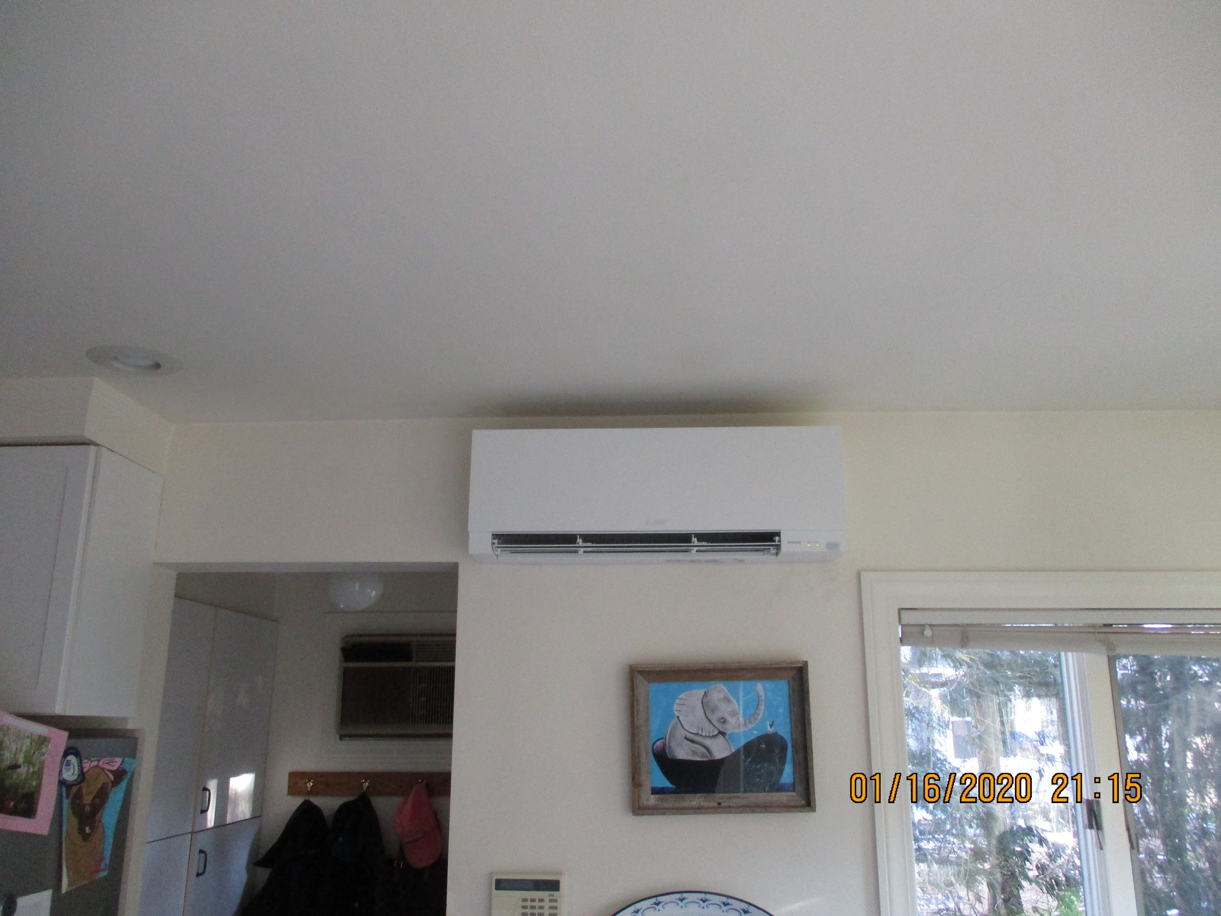 Example of indoor ductless AC wall unit installed in Winchester home.