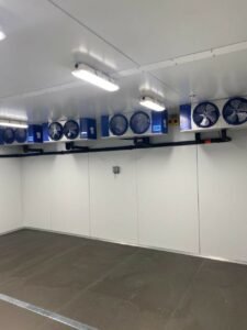 Air handlers installed in freezer room for Lap Corp refrigeration installation in Westborough, MA.