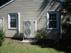 Example of a Mitsubishi Electric ductless AC outdoor condenser unit installed in Marblehead, MA, home.