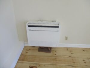 Mitsubishi Electric ductless AC installed inside colonial home in Swampscott, MA.