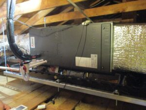 Mitsubishi ducted heating unit installed in the attic of Beverly, MA, home.