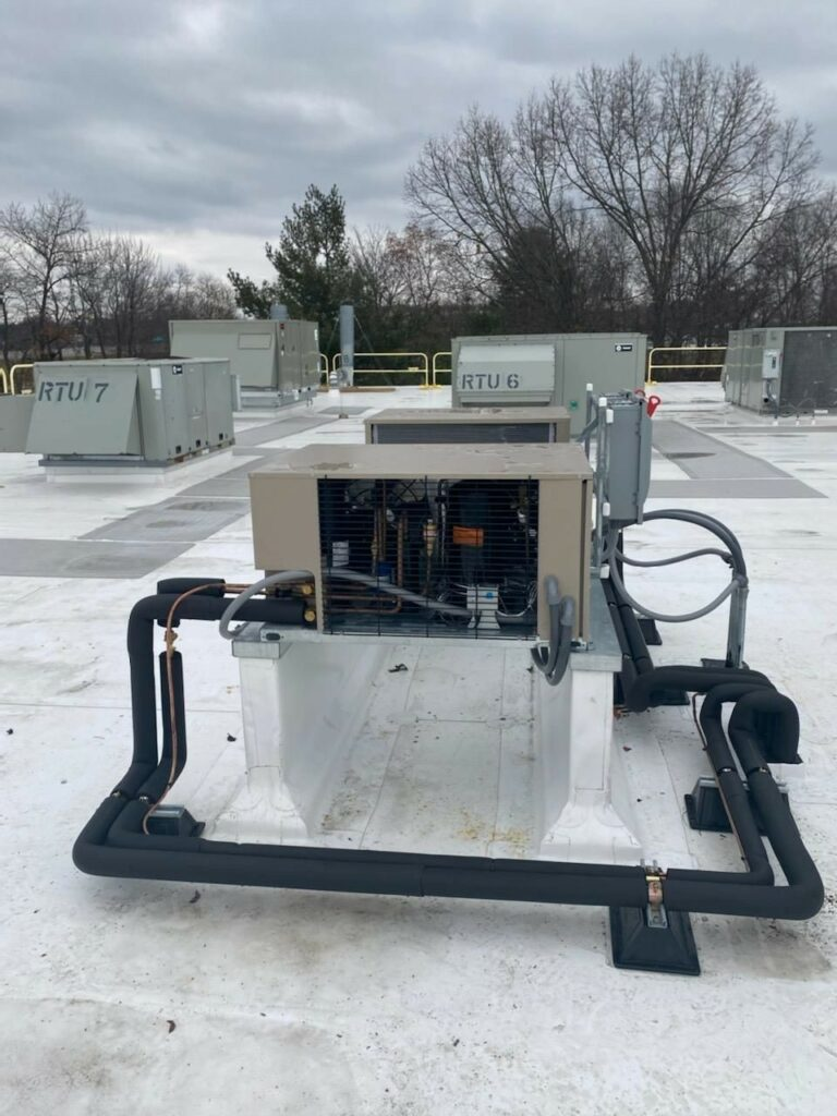 Outdoor condenser installed for refrigeration system in Lap Corp facility in Westborough, MA.