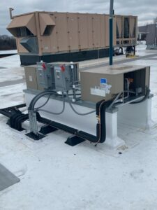 Second condenser installed on the roof of the Lab Corp Westborough, MA, facility for new freezer system.