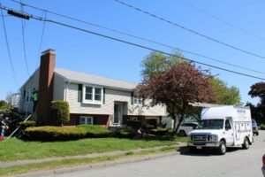 This split-level home in Beverly, MA, gets a new Mitsubishi ductless AC system from N.E.T.R., Inc.,.
