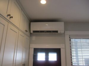 Boston home upgrades oil heating system with a Mitsubishi Electric ductless heat pump.