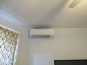 Example of an indoor Mitsubishi Electric ductless AC installed in a condo in Boston.