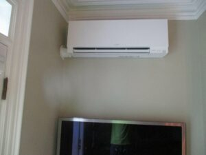 Example of an indoor Mitsubishi ductless AC unit installed in a home for supplemental heating and cooling.